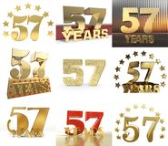 Σύνολο αριθμού πενήντα επτά έτος σχέδιο εορτασμού 57 ετών Χρυσά στοιχεία προτύπων αριθμού επετείου για τη γιορτή γενεθλίων σας διανυσματική απεικόνιση