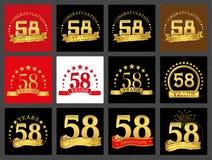 Σύνολο αριθμού πενήντα οκτώ 58 έτη σχεδίου εορτασμού Χρυσά στοιχεία προτύπων αριθμού επετείου για τη γιορτή γενεθλίων σας απεικόνιση αποθεμάτων