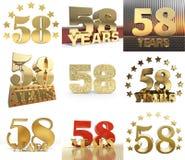 Σύνολο αριθμού πενήντα οκτώ έτος σχέδιο εορτασμού 58 ετών Χρυσά στοιχεία προτύπων αριθμού επετείου για τη γιορτή γενεθλίων σας Απεικόνιση αποθεμάτων