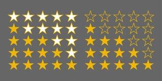 Σύνολο αστεριών περιγράμματος και σκιαγραφιών για τις εφαρμογές και τις περιοχές ελεύθερη απεικόνιση δικαιώματος