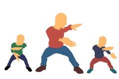 Σύνολο ατόμων Kung fu η ανασκόπηση απομόνωσε το λευκό Διανυσματικό illustrati διανυσματική απεικόνιση