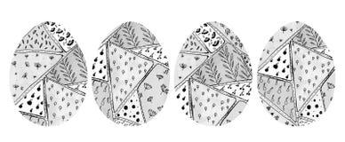 Σύνολο 4 αυγών Πάσχας με το αφηρημένο μονοχρωματικό σχέδιο ύφους doodle στοκ φωτογραφία με δικαίωμα ελεύθερης χρήσης