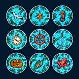 Σύνολο αυτοκόλλητων ετικεττών περιπετειών θάλασσας Θαλάσσια συρμένα χέρι διανυσματικά αντικείμενα Διανυσματική απεικόνιση ύφους D απεικόνιση αποθεμάτων