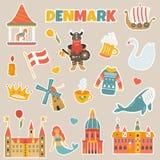 Σύνολο αυτοκόλλητων ετικεττών των δανικών διάσημων θέσεων, σύμβολα απεικόνιση αποθεμάτων