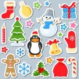 Σύνολο αυτοκόλλητων ετικεττών Χριστουγέννων Στοκ φωτογραφία με δικαίωμα ελεύθερης χρήσης