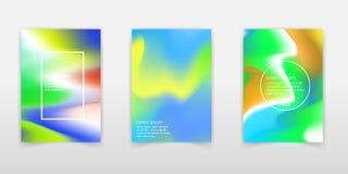Σύνολο αφίσας με το δονούμενο υπόβαθρο κλίσης χρώματος Καθιερώνον τη μόδα σύγχρονο σχέδιο Διανυσματικά πρότυπα για τις αφίσσες, ε απεικόνιση αποθεμάτων