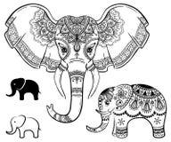 Σύνολο αφηρημένου ινδικού ελέφαντα Χαρασμένος ελέφαντας και ελέφαντας λογότυπων Τυποποιημένος διαμορφωμένος φαντασία ελέφαντας διανυσματική απεικόνιση