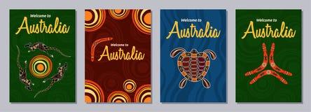 Σύνολο αφηρημένων ζωηρόχρωμων ιπτάμενων, αφίσες, εμβλήματα, αφίσσες, μέγεθος προτύπων A6 σχεδίου φυλλάδιων απεικόνιση αποθεμάτων