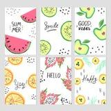 Σύνολο αφηρημένων προτύπων καρτών με τα φρούτα ύφους doodle απεικόνιση αποθεμάτων