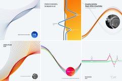Σύνολο αφηρημένων προτύπων σύγχρονου σχεδίου Δημιουργικό επιχειρησιακό υπόβαθρο με τις ζωηρόχρωμες γραμμές κυμάτων για την προώθη στοκ εικόνες