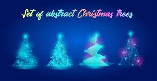 Σύνολο αφηρημένων χριστουγεννιάτικων δέντρων Διανυσματική απεικόνιση που παρουσιάζει διαφορετικά είδη νέων δέντρων έτους στοκ εικόνα