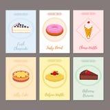 Σύνολο αφισών ζύμης, εμβλήματα για τα γλυκά τρόφιμα Doughnut, cheesecake Στοκ Εικόνα