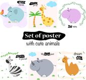 Σύνολο αφισών με τα χαριτωμένα ζώα - διανυσματική απεικόνιση, eps απεικόνιση αποθεμάτων