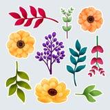Σύνολο βοτανικού των αυτοκόλλητων ετικεττών Κήπος και άγριο φύλλωμα, λουλούδια και κλάδοι που απομονώνονται στο γκρίζο υπόβαθρο,  ελεύθερη απεικόνιση δικαιώματος