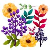 Σύνολο βοτανικό των στοιχείων Κήπος και άγριο φύλλωμα, λουλούδια και κλάδοι που απομονώνονται στο άσπρο υπόβαθρο, εξωτικός, τροπι απεικόνιση αποθεμάτων