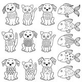 Σύνολο γατών, σκυλιών και ψαριών κινούμενων σχεδίων Στοκ φωτογραφίες με δικαίωμα ελεύθερης χρήσης