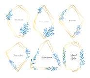 Σύνολο γεωμετρικού πλαισίου με το watercolor φύλλων, βοτανική σύνθεση, διακοσμητικό στοιχείο για τη γαμήλια κάρτα απεικόνιση αποθεμάτων