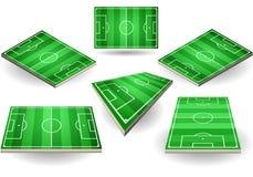 Σύνολο γηπέδων ποδοσφαίρου σε έξι διαφορετικές θέσεις απεικόνιση αποθεμάτων