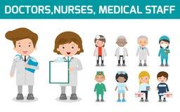 Σύνολο γιατρού, νοσοκόμες, προσωπικό ιατρικής στο επίπεδο ύφος που απομονώνεται στο άσπρο υπόβαθρο Ιατρικός χειρούργος νοσοκόμων  διανυσματική απεικόνιση