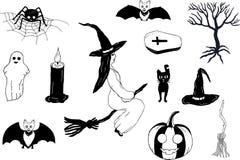 Σύνολο για αποκριές μαύρο λευκό Σχεδιασμός με το χέρι διάνυσμα ελεύθερη απεικόνιση δικαιώματος