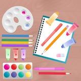 Σύνολο για τη δημιουργικότητα παιδιών ` s: watercolor, δείκτες, χρώματα και χρωματισμένα μολύβια ελεύθερη απεικόνιση δικαιώματος