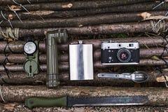 Σύνολο για τη στρατοπέδευση Τοπ όψη Στοκ φωτογραφία με δικαίωμα ελεύθερης χρήσης