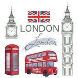 Σύνολο για το σχέδιο στο Λονδίνο Σημαία της Μεγάλης Βρετανίας Λεωφορείο του Λονδίνου ben μεγάλος πύργος Τηλεφωνικός θάλαμος του Λ Στοκ εικόνες με δικαίωμα ελεύθερης χρήσης