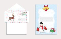 Σύνολο για το φάκελο Χριστουγέννων για την επιστολή σε Άγιο Βασίλη, διανυσματική απεικόνιση ελεύθερη απεικόνιση δικαιώματος