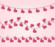 Σύνολο γιρλάντας μορφής καρδιών για το βαλεντίνο ελεύθερη απεικόνιση δικαιώματος