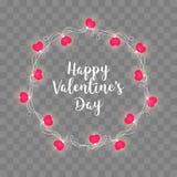 Σύνολο γιρλαντών ημέρας βαλεντίνων ` s με τα φω'τα βολβών αγάπης καρδιών που απομονώνονται σε ένα διαφανές υπόβαθρο Διανυσματικό  Στοκ Φωτογραφία