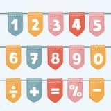 Σύνολο γιρλαντών σημαιών κινούμενων σχεδίων με το αλφάβητο: επιστολές και αριθμοί εορτασμοί, φεστιβάλ, εκθέσεις, αγορές, κόμμα κα απεικόνιση αποθεμάτων