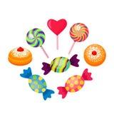 Σύνολο γλυκών πολύχρωμων καραμελών και καραμέλας με τα donuts διανυσματική απεικόνιση