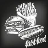 Σύνολο γρήγορου γεύματος, τηγανιτές πατάτες, χοτ-ντογκ, χάμπουργκερ ρεαλιστικό σκίτσο απεικόνισης λογότυπων συρμένο χέρι διανυσμα ελεύθερη απεικόνιση δικαιώματος