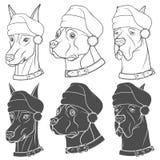 Σύνολο γραπτών απεικονίσεων με τα σκυλιά στα καπέλα Χριστουγέννων Απομονωμένα διανυσματικά αντικείμενα Στοκ φωτογραφία με δικαίωμα ελεύθερης χρήσης