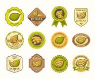 Σύνολο γραπτών διακριτικών, αυτοκόλλητες ετικέττες, υψηλές - ποιοτικά σημάδια, με τα durian φρούτα Στοκ φωτογραφίες με δικαίωμα ελεύθερης χρήσης