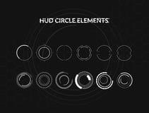Σύνολο γραπτών infographic στοιχείων κύκλων hud Head-up στοιχεία επίδειξης για τον Ιστό και app Φουτουριστικός χρήστης Στοκ Εικόνες