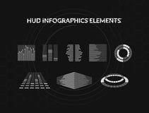 Σύνολο γραπτών infographic στοιχείων hud Head-up στοιχεία επίδειξης για τον Ιστό και app Φουτουριστικό ενδιάμεσο με τον χρήστη Στοκ εικόνα με δικαίωμα ελεύθερης χρήσης