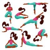 Σύνολο γυναίκας 8 που κάνει τις ασκήσεις γιόγκας ποικιλομορφίας συλλογή κοριτσιών γιόγκας Κορίτσια στα διαφορετικά asanas Συρμένο διανυσματική απεικόνιση