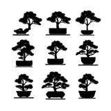 σύνολο δέντρου μπονσάι σκιών Απεικόνιση αποθεμάτων