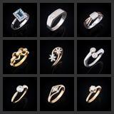 Σύνολο δαχτυλιδιών διαμαντιών Στοκ εικόνες με δικαίωμα ελεύθερης χρήσης