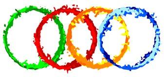 Σύνολο δαχτυλιδιών colorfull grunge Εμβλήματα παφλασμών Ετικέτες Splatter με το διάστημα για το κείμενο Στρογγυλά πλαίσια ελεύθερη απεικόνιση δικαιώματος