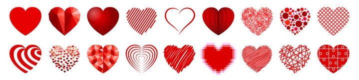 Σύνολο δεκαοχτώ καρδιών - διάνυσμα Στοκ Εικόνες