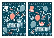 Σύνολο δημιουργικού σχεδίου ευχετήριων καρτών γενεθλίων Στοκ φωτογραφίες με δικαίωμα ελεύθερης χρήσης
