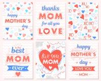 Σύνολο δημιουργικών καρτών ημέρας μητέρων διανυσματική απεικόνιση