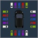 Σύνολο διάφορων διανυσματικών αυτοκινήτων τοπ άποψης Απομονωμένο εικονίδιο οχημάτων διανυσματική απεικόνιση