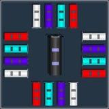 Σύνολο διάφορων διανυσματικών λεωφορείων τοπ άποψης Απομονωμένο εικονίδιο μεταφορών διανυσματική απεικόνιση