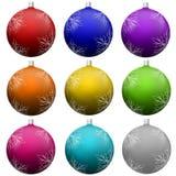 Σύνολο διακοσμήσεων σφαιρών χριστουγεννιάτικων δέντρων στοκ εικόνες