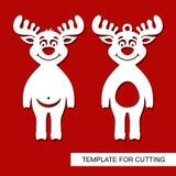 Σύνολο διακοσμήσεων Χριστουγέννων - αστεία deers παιχνιδιών διανυσματική απεικόνιση