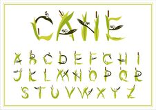 Σύνολο διακοσμητικού καλάμου αλφάβητου η ανασκόπηση απομόνωσε το λευκό απεικόνιση αποθεμάτων