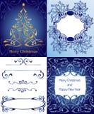 Σύνολο διακοσμητικού χριστουγεννιάτικου δέντρου στο μπλε υπόβαθρο, με το snowfl Στοκ Εικόνες